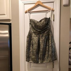 Shoshanna metallic tweed strapless dress
